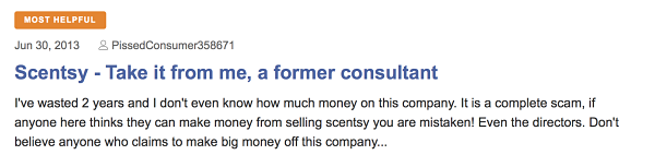 Is Scentsy a MLM? Complaint 1
