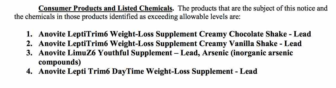 anovite products including chemicals