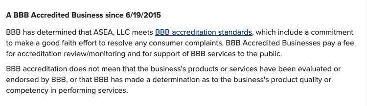 ASEA BBB accredited